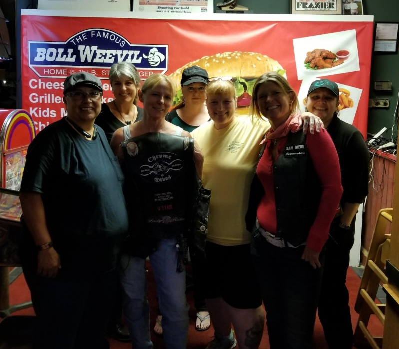 Toni Miller, Cortland NY Chrome Divas Chapter Director with members of San Diego, CA Chapter during Toni Miller's recent trip to California